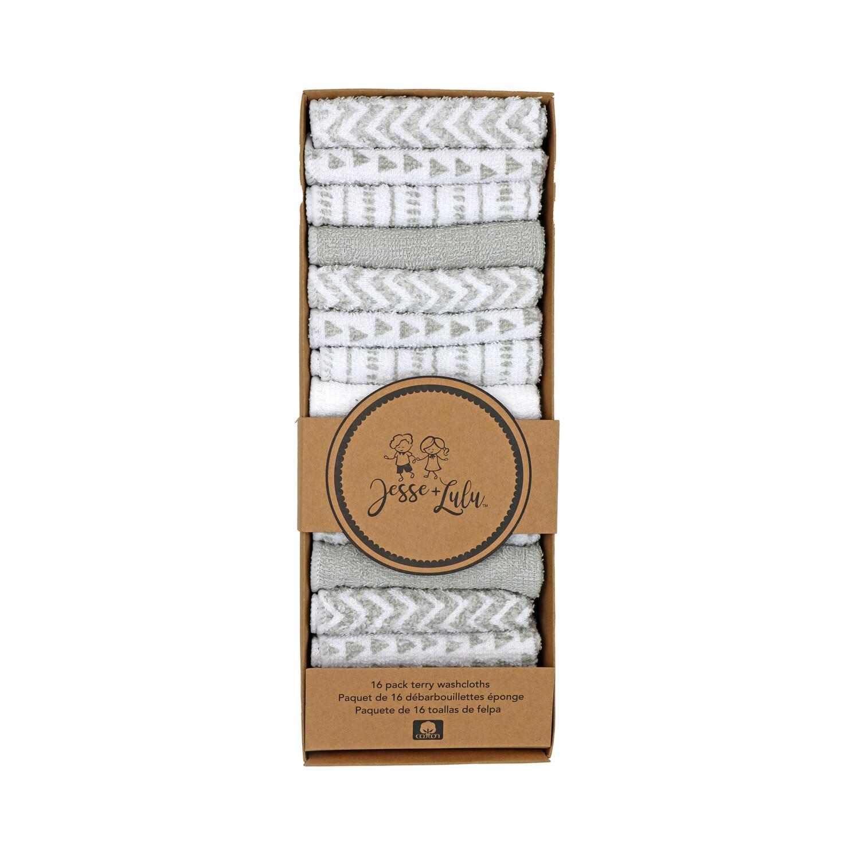 16pk Washcloths-Grey
