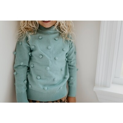 Teal Pom Sweater
