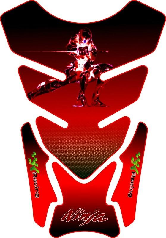 Kawasaki Ninja Red and Black Tank Pad - Universal Fit