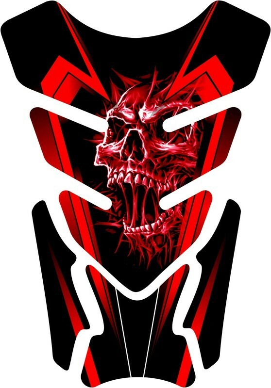 Universal Fit Tank Pad - Screaming Skull  - Available Colours - Red / Blue Black / Yellow / Green