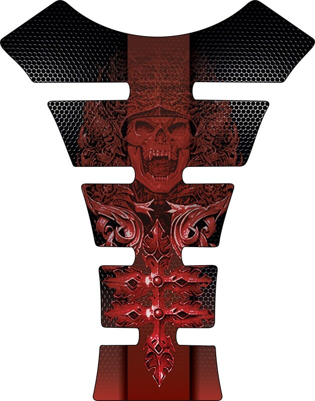 Motor Bike Tank Pad.  Carbon Fibre Red Mayan Skull. Universal Fit
