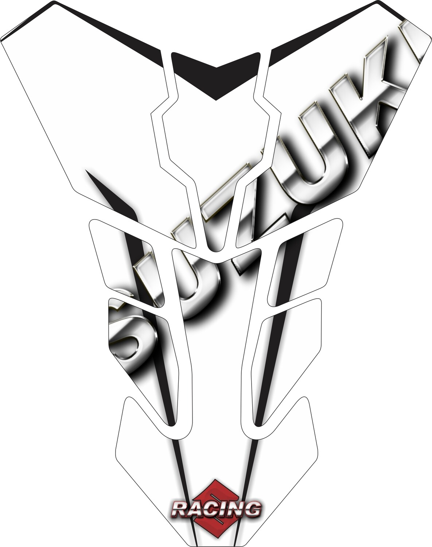 Suzuki White Transformer Tank Pad - Universal Fit