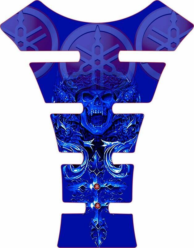 Yamaha Mayan Skull Tank Pad. Blue Universal Fit