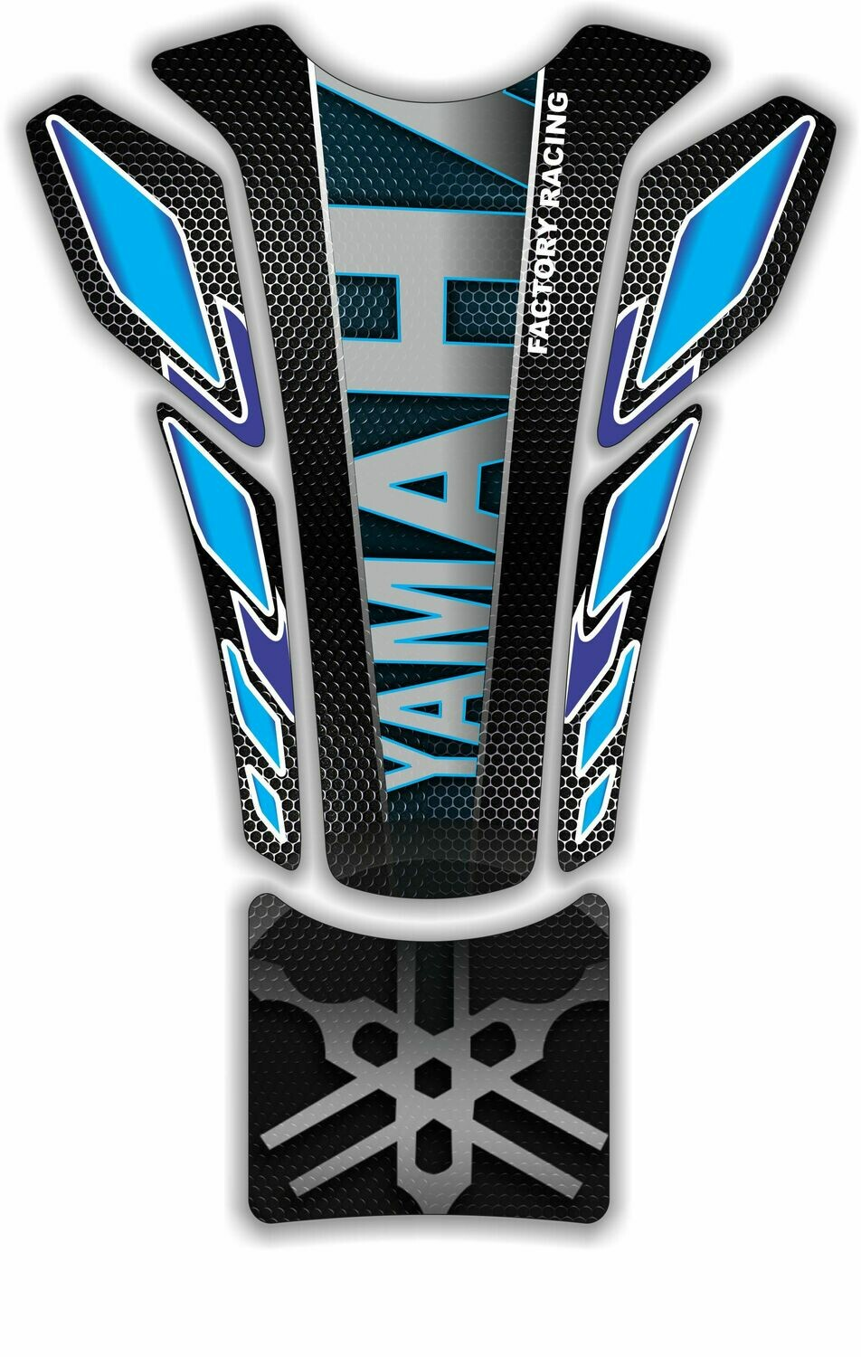 Yamaha Blue and Black Tank Pad with Carbon Fibre . Universal Fit