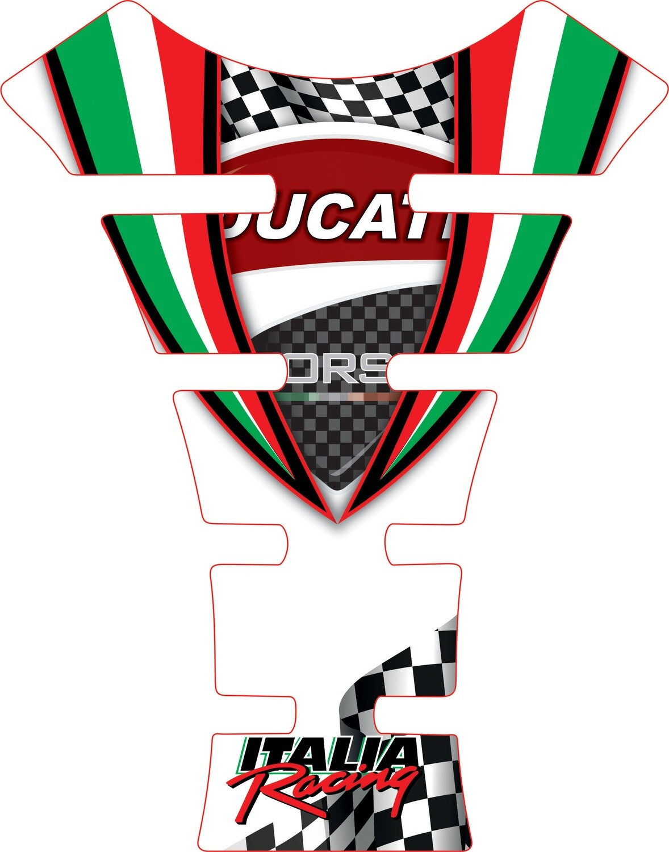 Motor Bike Tank Pad.  Ducati White. Universal Fit