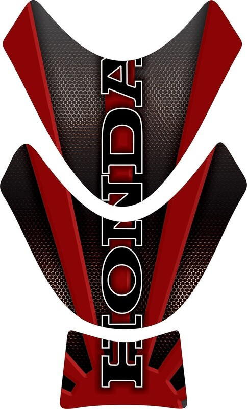 Motor Bike Tank Pad. Honda Black and Red. Universal Fit