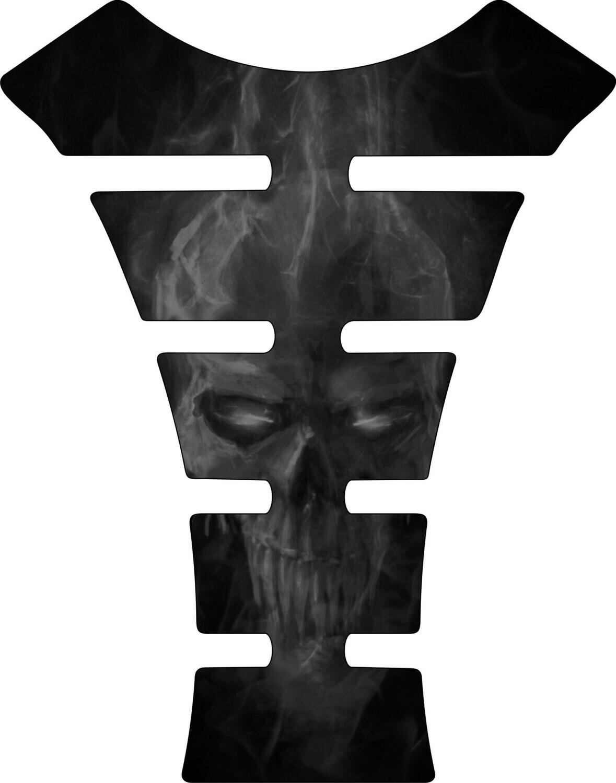 Black Fiery Skull Tank Pad. Universal Fit