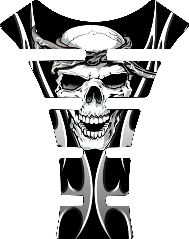 Black and White Bandit Skull Tank Pad. Universal Fit