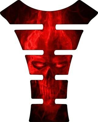 Red Fiery Skull Tank Pad. Universal Fit