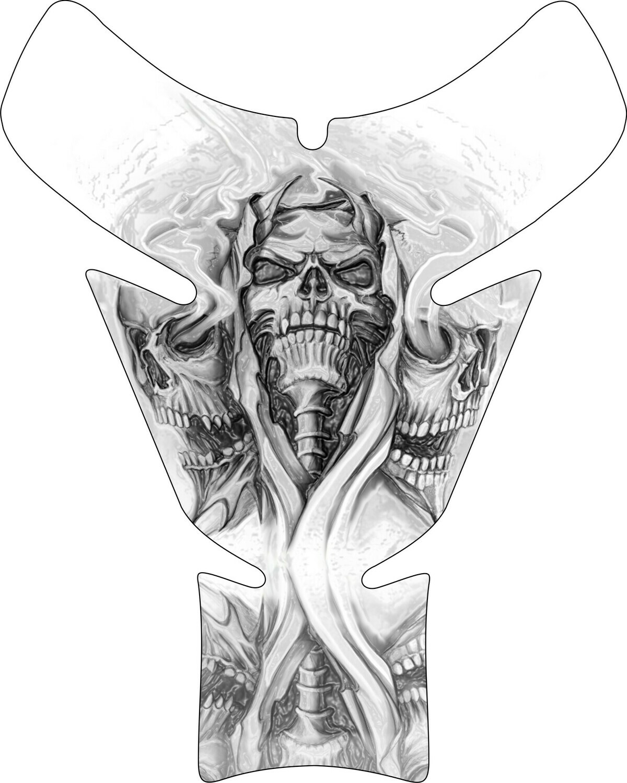 Bohemian Reaper Skull Motor Bike Tank Pad. Universal Fit