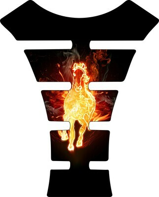Fire and Ice - Flaming Horse Tank Pad. Universal Fit