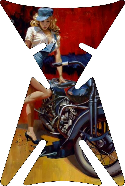 Retro Design - Vintage Tank Pad -Lady Biker