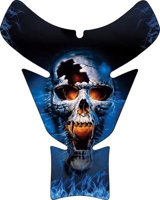 Blue Flaming  Reaper Skull Tank Pad. Universal Fit