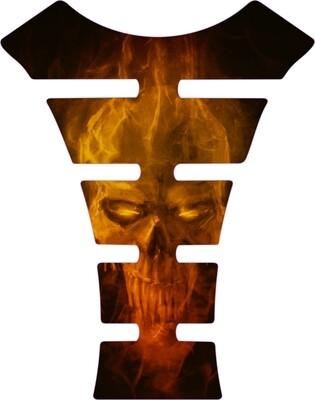 Fiery Skull Motor Bike Tank Pad. Universal Fit