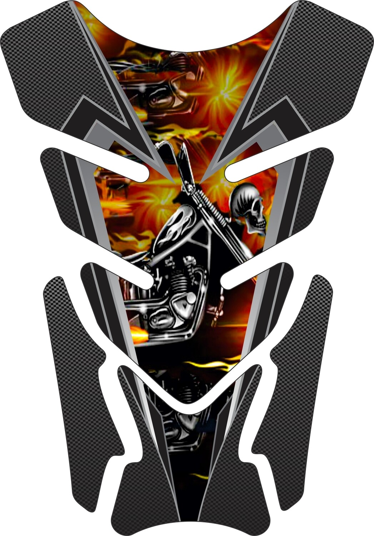Fiery Skull Motor Head Carbon Fibre Tank Pad. Universal Fit