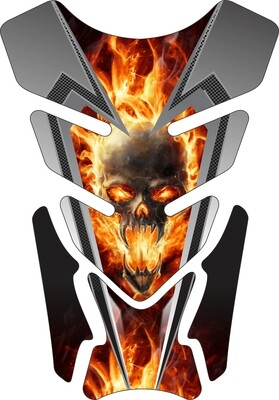 Fiery Skull with Carbon Trim Tank Pad. Universal Fit