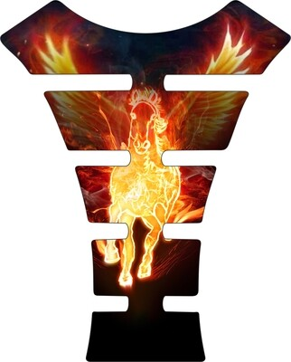 Fire and Ice - Flaming Flying Horse Tank Pad. Universal Fit