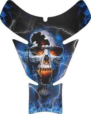 Flaming  Reaper Skull Motor Bike Tank Pad. Universal Fit