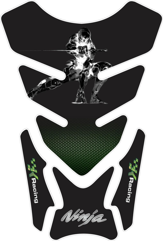 Kawasaki Ninja Black and White Tank Pad - Universal Fit