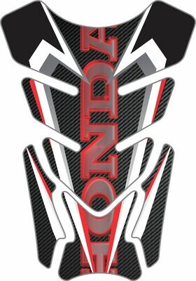 Honda Red Black and White Carbon Fibre Tank Pad - Universal Fit