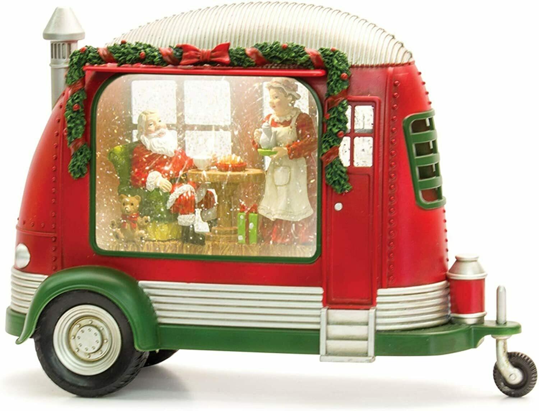 "Camper Snow Globe w Santa  8"" H"