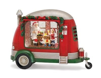 "Camper Snow Globe w Elf & Santa 8.5"" H"
