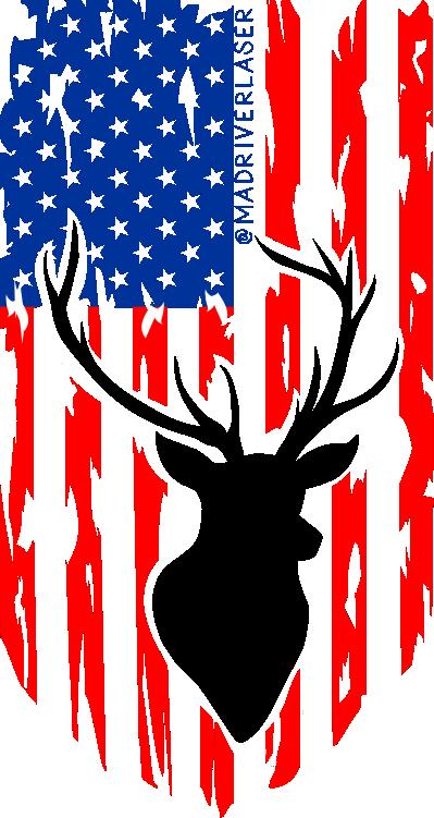 USA Flag with Deer Sticker