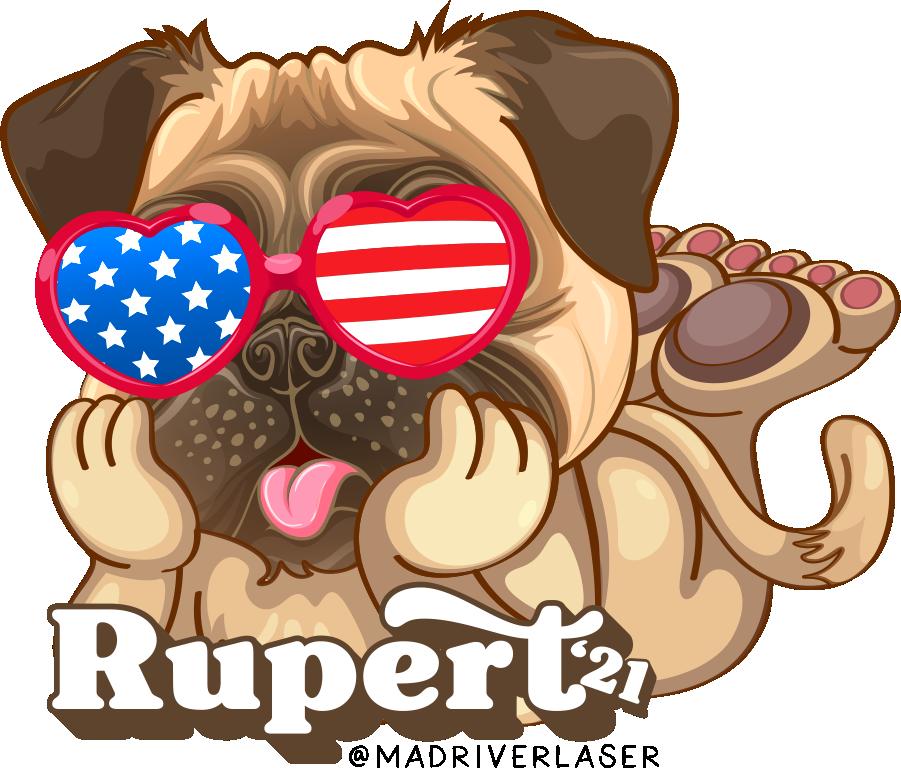 Rupert Puppy with Flag Sunglasses Sticker