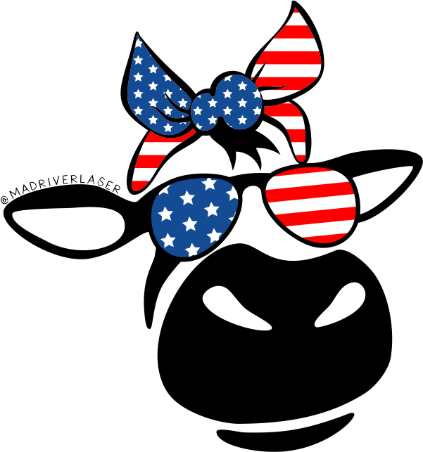 Bessie Cow with Flag Bow and Sunglasses Sticker