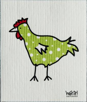 Green Polka Dot Chicken Wet-it Cloth