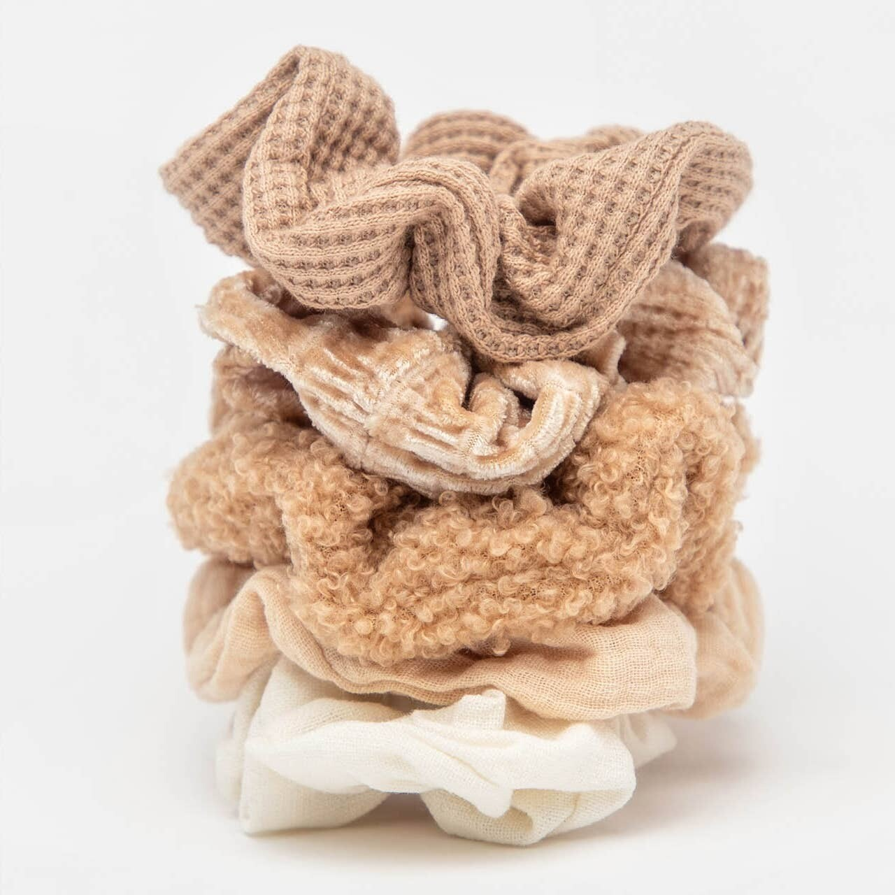 Assorted Textured Scrunchies 5pc