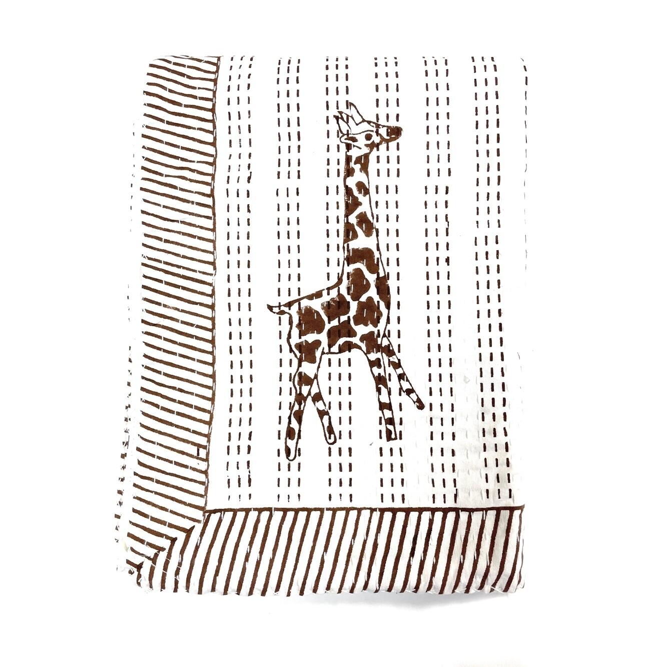 Block Printed Kantha Quilt - Giraffe