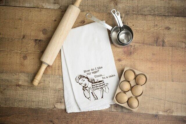 Flour Sack Towe; -Eggs in a Cake