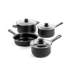 7 Piece Cookware Set in Black - Gibson Home Chef Du Jour