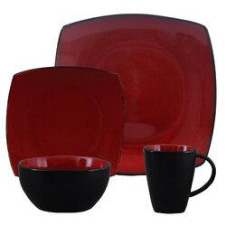 Soho Lounge 16 Piece Dinnerware Set, Red - Gibson