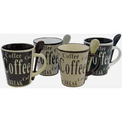 8 Piece, 13 Ounce Coffee Mug and Spoon Set - Gibson