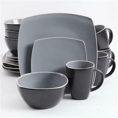 Soho Lounge 16-Piece Dinnerware Set, Matte Gray - Gibson