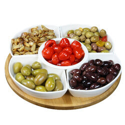 12.25 Inch 6-Piece Lazy Susan Appetizer and Condiment Server - Elama Signature