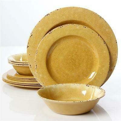 Studio California Mauna 12 piece Dinnerware, Yellow - Gibson
