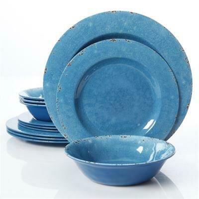 Studio California Mauna 12 piece Dinnerware, Blue - Gibson