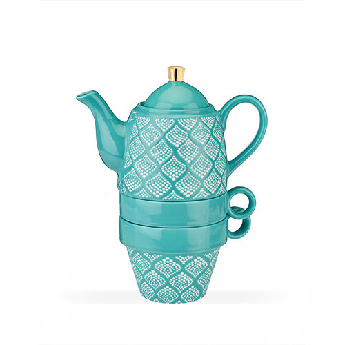 Teapot and Cups, Taylor Bali Turquoise - Pinky Up
