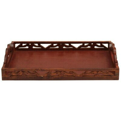 Carved Wooden Serving Tray, With Handles - Benzara