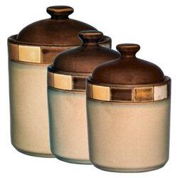 3 Piece Stoneware Storage Canister Set - Casa Estebana