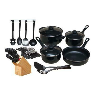 32 Piece Cookware Set Black - Gibson Home