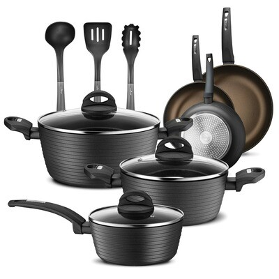 12 Piece Kitchen Cookware Set (Gold Lines) - NutriChef