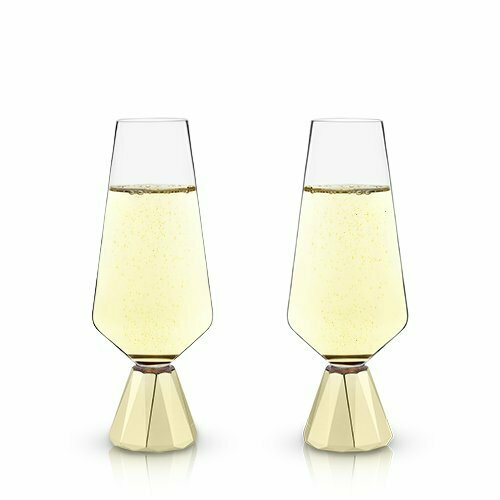 8 Ounce Champagne Flutes, Spire Crystal - Viski