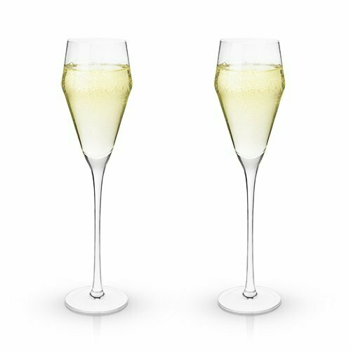 8 Ounce Prosecco Glasses, Angled Crystal - Viski