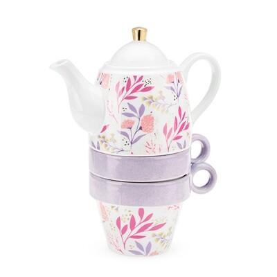 Teapot and Cups, Taylor Botanical Bliss - Pinky Up