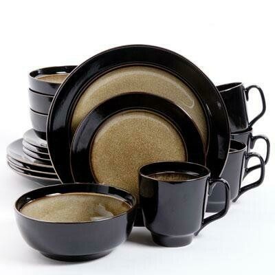 Bella Galleria 16 Piece Dinnerware Set in Taupe and Black - Gibson