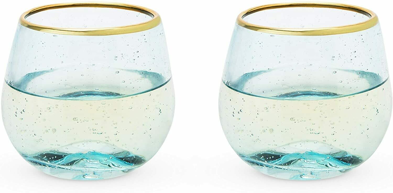 12 Ounce Stemless Wine Glass Set, Deep Blue Bubble -Twine